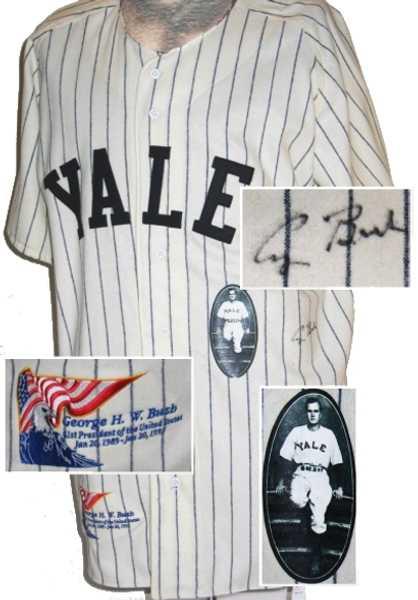 George Bush Autographed Jersey Yale University Baseball