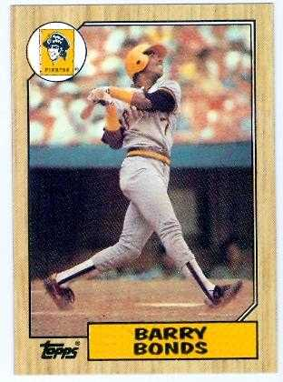 Barry Bonds 1987 Topps Baseball Card #4 Pittsburgh Pirates - mint condition unsigned rookie card