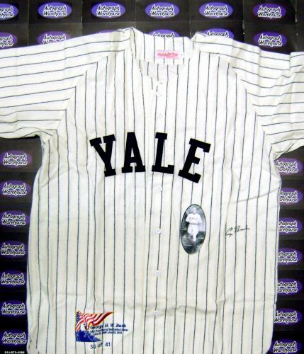 George Bush Autographed Jersey Yale 2 Flannel Jersey