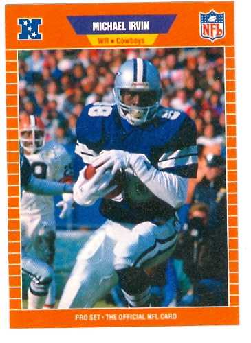 michael irvin football card 1989 pro set  89 rookie card