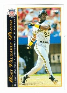 Barry Bonds Baseball Card Pittsburgh Pirates 1993 Score 482 Mvp