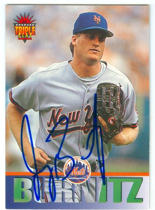 Jeromy Burnitz Autographed Baseball Card New York Mets 1994