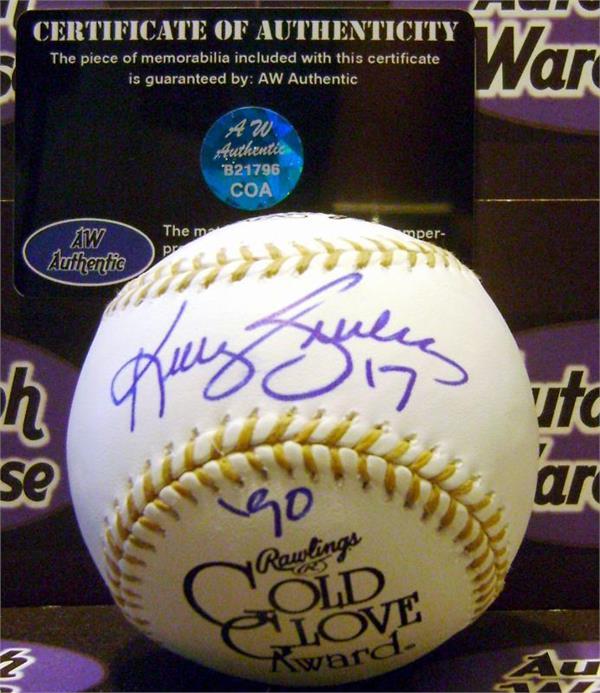 detailed look 862e2 6aee3 Kelly Gruber autographed baseball Gold Glove baseball ...