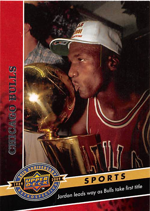 Michael Jordan Basketball Card Chicago Bulls 2009 Upper Deck 307 NBA Championship Trophy Kiss