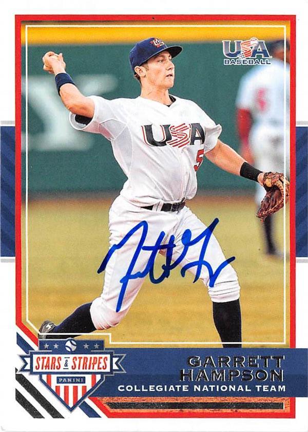 Garrett Hampson Autographed Baseball Card 2017 Stars Stripes 90
