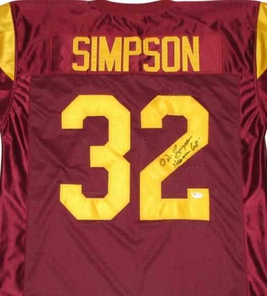 online store 9c423 258ab O.J. Simpson autographed Jersey (USC)