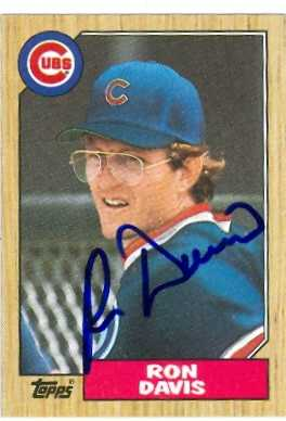 Ron Davis Autographed Baseball Card Chicago Cubs 1987 Topps