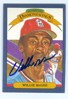 Willie Mcgee Autographed Baseball Card St Louis Cardinals 1986