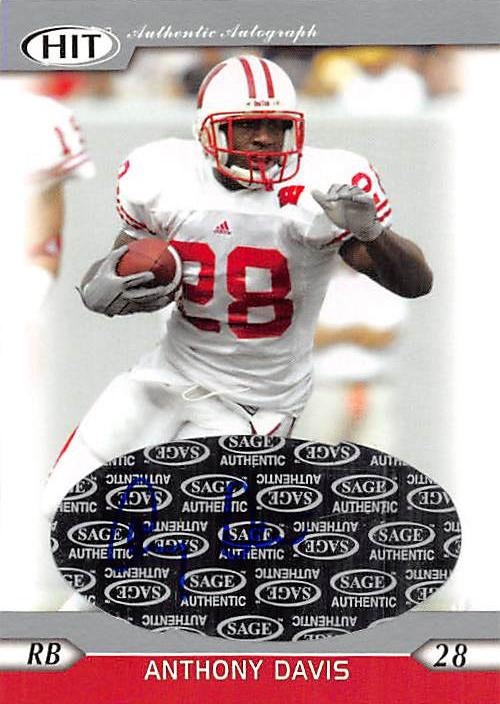 Anthony Davis Autographed Football Card Wisconsin 2005