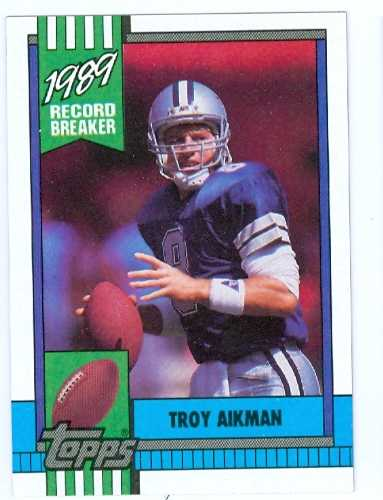 Troy Aikman Football Card 1990 Topps Record Breaker 3