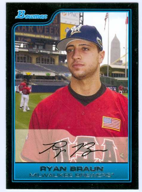 Ryan Braun Baseball Card Rookie Card Milwaukee Brewers