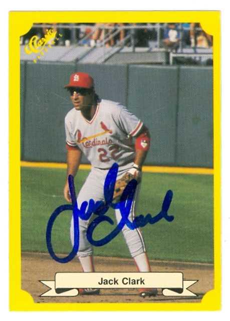 Jack Clark Autographed Baseball Card St Louis Cardinals 1987