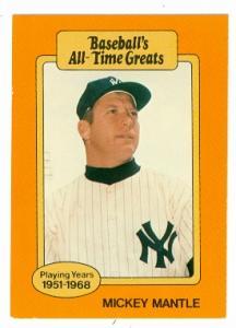 Mickey Mantle Baseball Card Baseballs All Time Greats New
