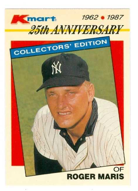 Roger Maris Baseball Card 1987 Topps Kmart 7 New York