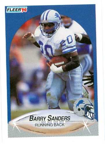 barry sanders football card 1990 fleer rookie card