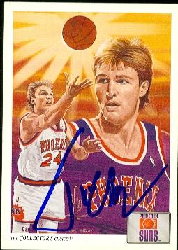 Tom Chambers Autographed Basketball Card Phoenix Suns 1991 Upper Deck Collectors Choice 95