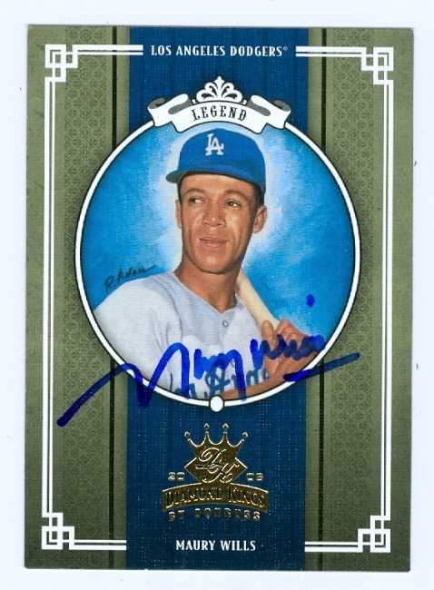 Maury Wills Autographed Baseball Card Los Angeles Dodgers 2005