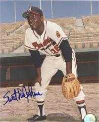 Sweet Lou Johnson Autographed Braves 8x10